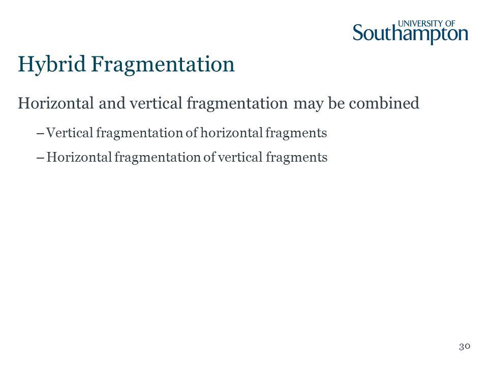 Hybrid Fragmentation 30 Horizontal and vertical fragmentation may be combined –Vertical fragmentation of horizontal fragments –Horizontal fragmentation of vertical fragments