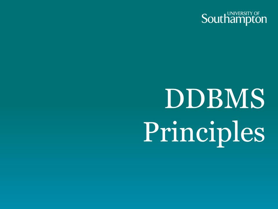 DDBMS Principles
