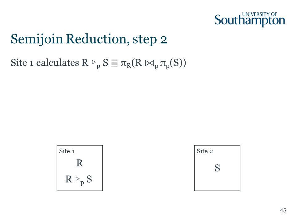 45 Site 1 calculates R ▷ p S ≣ π R (R p π p (S)) Semijoin Reduction, step 2 Site 1Site 2 R S R ▷ p S