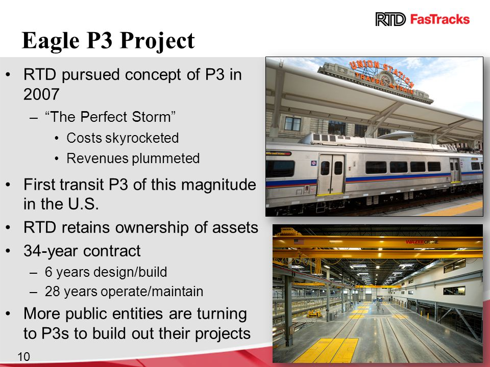 Eagle P3 Project RTD pursued concept of P3 in 2007 – The Perfect Storm Costs skyrocketed Revenues plummeted First transit P3 of this magnitude in the U.S.