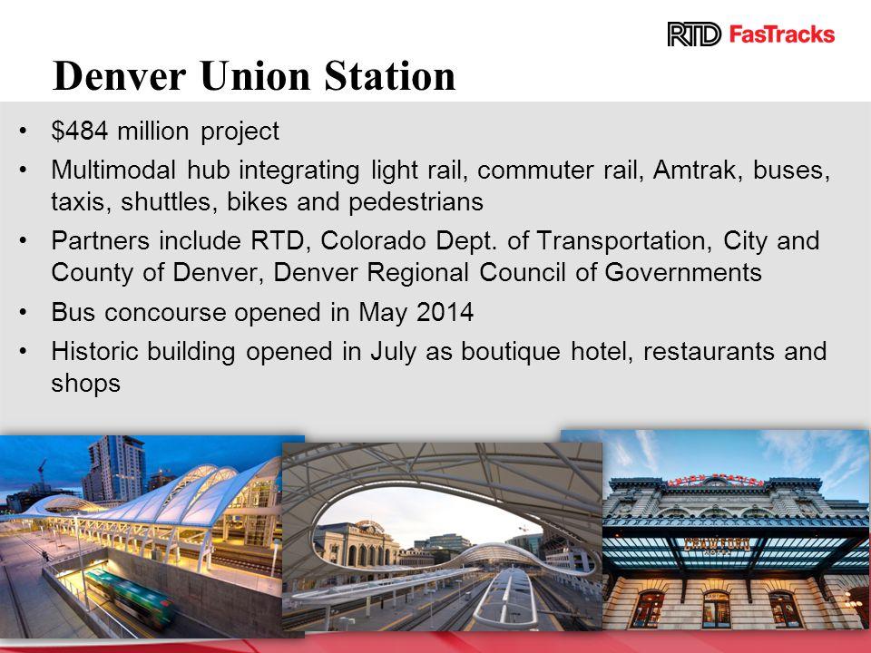 Denver Union Station $484 million project Multimodal hub integrating light rail, commuter rail, Amtrak, buses, taxis, shuttles, bikes and pedestrians Partners include RTD, Colorado Dept.