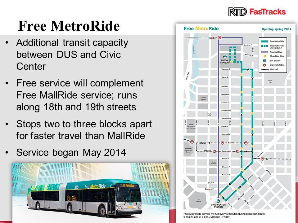 Free MetroRide Additional transit capacity between DUS and Civic Center Free service will complement Free MallRide service; runs along 18th and 19th s