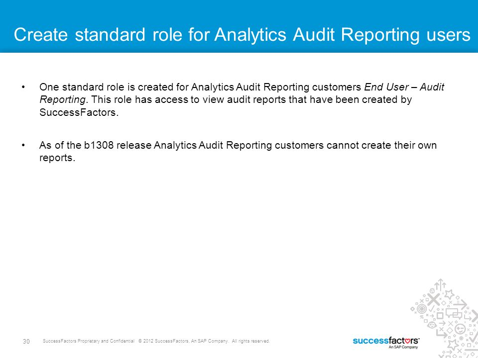 30 SuccessFactors Proprietary and Confidential © 2012 SuccessFactors, An SAP Company. All rights reserved. Create standard role for Analytics Audit Re