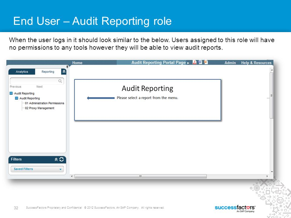 32 SuccessFactors Proprietary and Confidential © 2012 SuccessFactors, An SAP Company. All rights reserved. End User – Audit Reporting role When the us