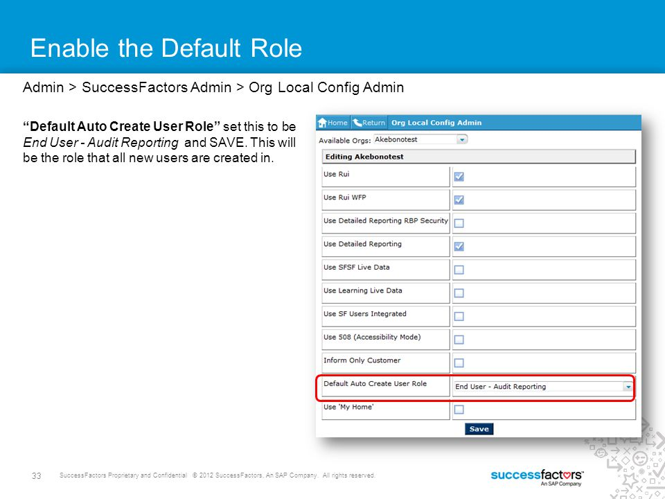 33 SuccessFactors Proprietary and Confidential © 2012 SuccessFactors, An SAP Company. All rights reserved. Enable the Default Role Admin > SuccessFact
