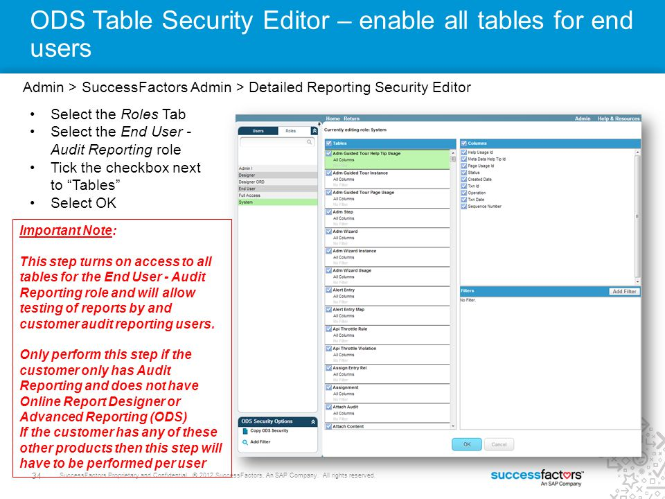 34 SuccessFactors Proprietary and Confidential © 2012 SuccessFactors, An SAP Company. All rights reserved. ODS Table Security Editor – enable all tabl