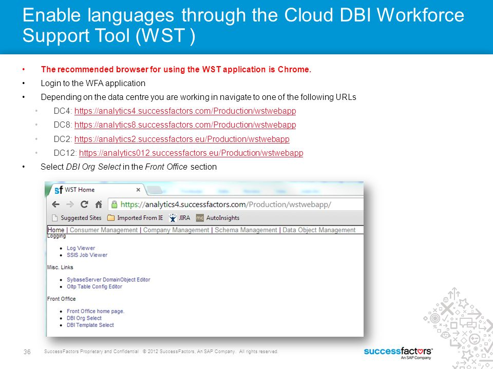 36 SuccessFactors Proprietary and Confidential © 2012 SuccessFactors, An SAP Company. All rights reserved. Enable languages through the Cloud DBI Work