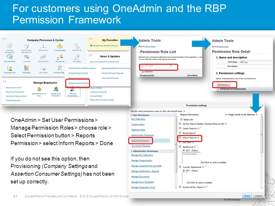 41 SuccessFactors Proprietary and Confidential © 2012 SuccessFactors, An SAP Company. All rights reserved. For customers using OneAdmin and the RBP Pe