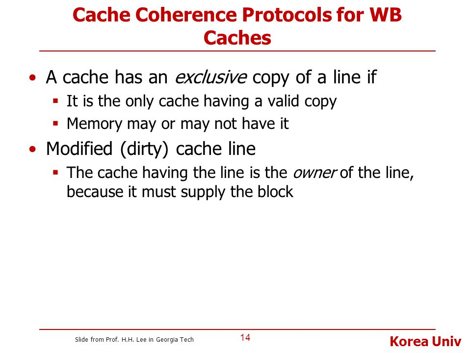 Korea Univ Cache Coherence Protocols for WB Caches A cache has an exclusive copy of a line if  It is the only cache having a valid copy  Memory may