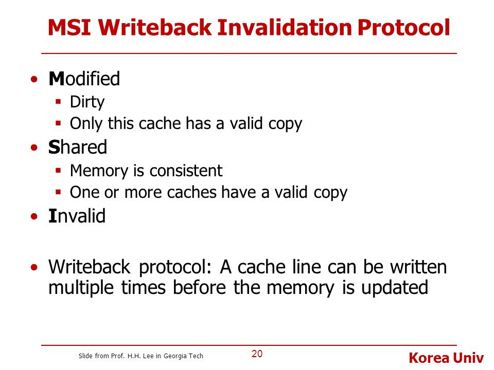 Korea Univ MSI Writeback Invalidation Protocol Modified  Dirty  Only this cache has a valid copy Shared  Memory is consistent  One or more caches