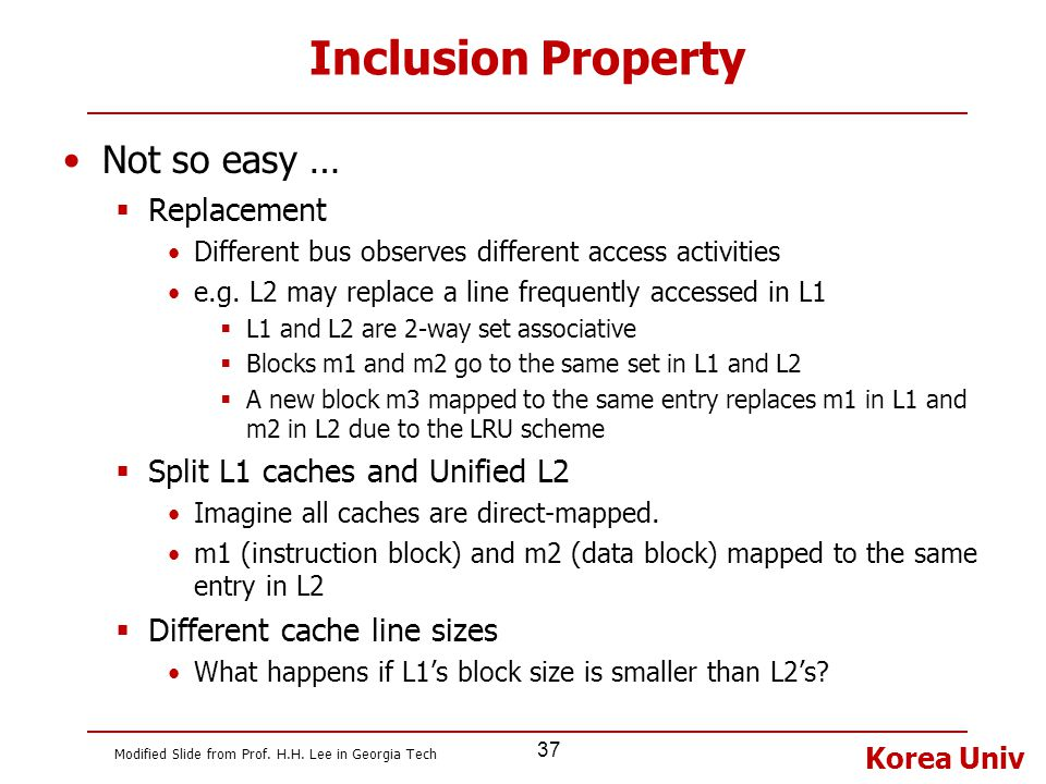 Korea Univ 37 Inclusion Property Not so easy …  Replacement Different bus observes different access activities e.g. L2 may replace a line frequently