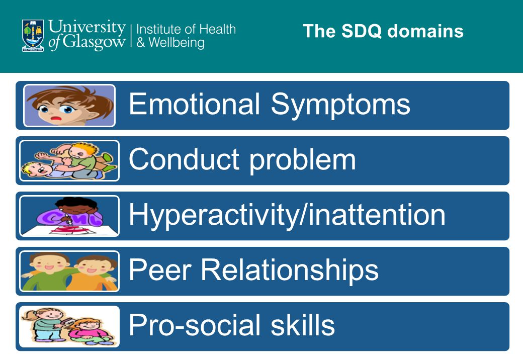 Emotional Symptoms Conduct problem Hyperactivity/inattention Peer Relationships Pro-social skills The SDQ domains