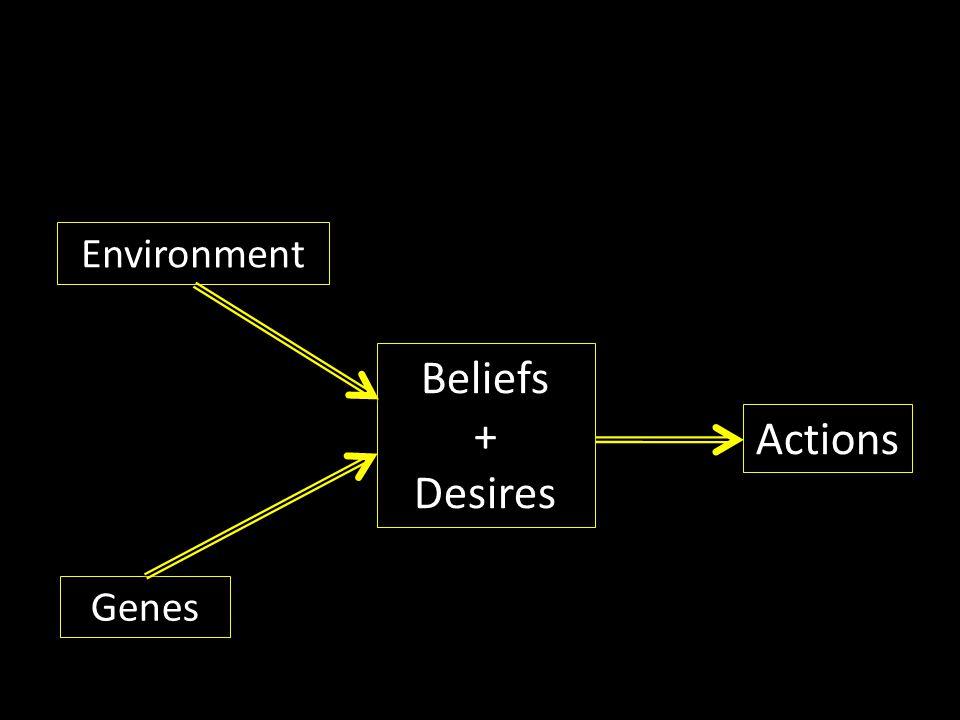 Beliefs + Desires Genes Environment Actions