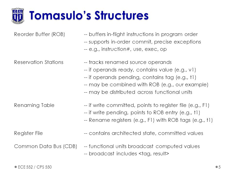ECE 552 / CPS 5505 Tomasulo's Structures Reorder Buffer (ROB)-- buffers in-flight instructions in program order -- supports in-order commit, precise e