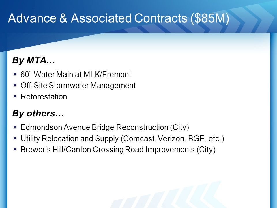 "Advance & Associated Contracts ($85M) By MTA… 60"" Water Main at MLK/Fremont Off-Site Stormwater Management Reforestation By others… Edmondson Avenue B"