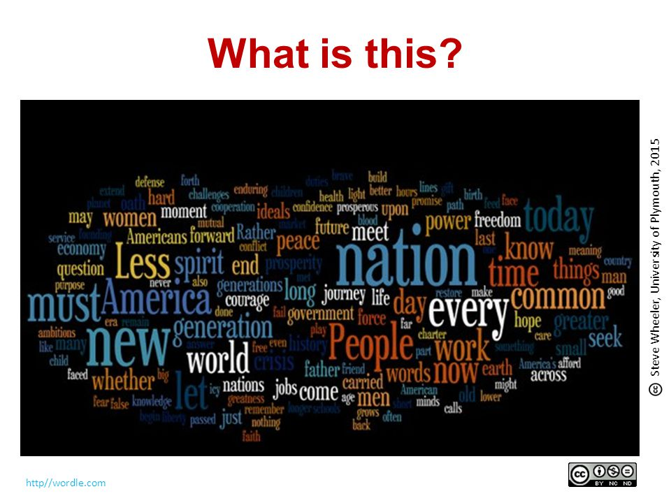 What is this? http//wordle.com Steve Wheeler, University of Plymouth, 2015