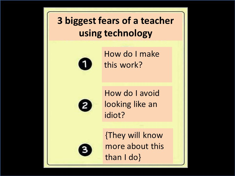3 biggest fears of a teacher using technology How do I make this work? How do I avoid looking like an idiot? {They will know more about this than I do