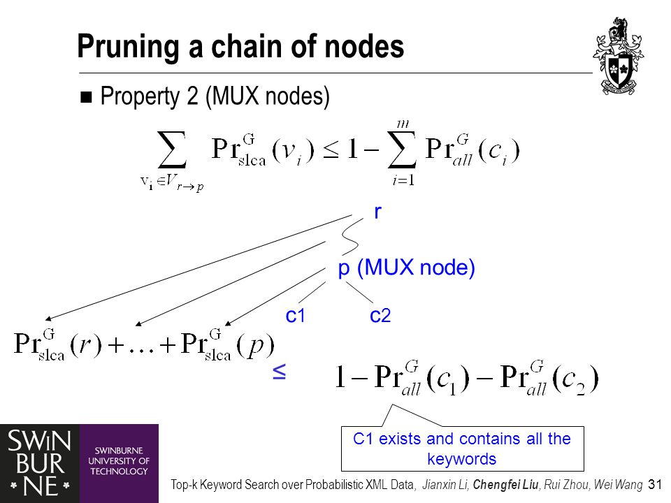 Top-k Keyword Search over Probabilistic XML Data, Jianxin Li, Chengfei Liu, Rui Zhou, Wei Wang 31 Pruning a chain of nodes Property 2 (MUX nodes) p (MUX node) c1c1 c2c2 r ≤ C1 exists and contains all the keywords