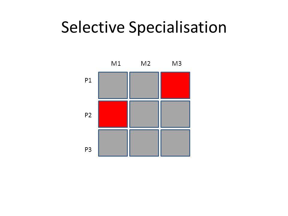 Product Specialisation P1 P2 P3 M1 M2 M3