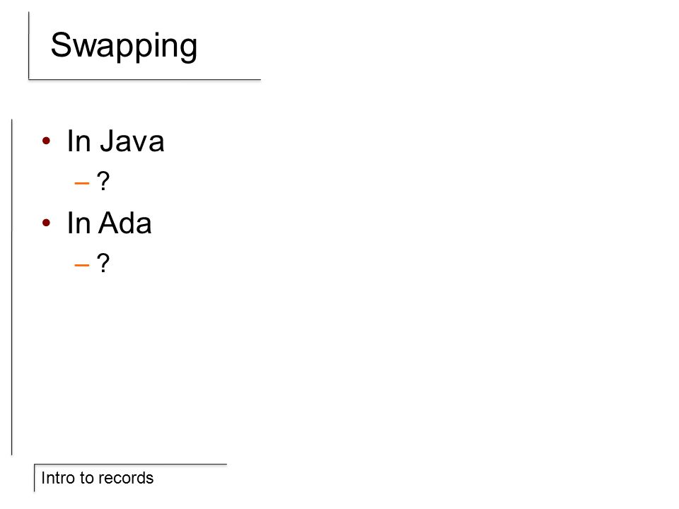 Intro to records Swapping In Java – In Ada –