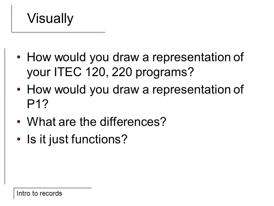 Intro to records Visually How would you draw a representation of your ITEC 120, 220 programs.