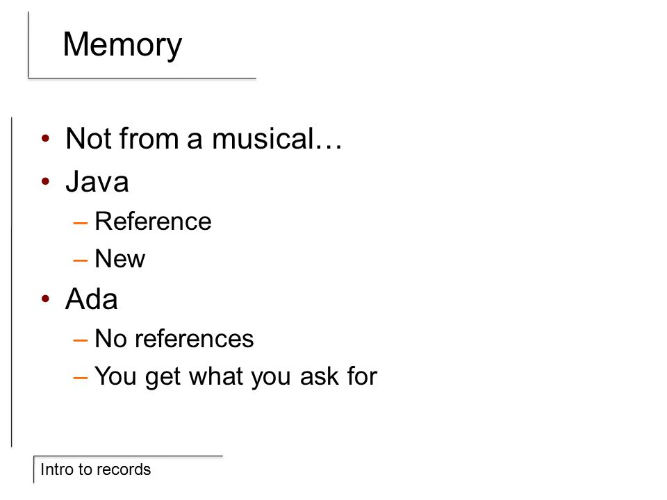 Intro to records Memory Not from a musical… Java –Reference –New Ada –No references –You get what you ask for