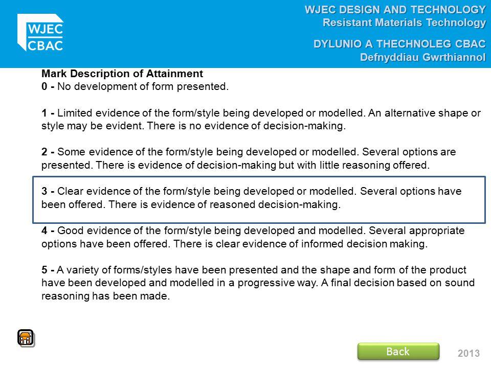 WJEC DESIGN AND TECHNOLOGY Resistant Materials Technology DYLUNIO A THECHNOLEG CBAC Defnyddiau Gwrthiannol 2013 Mark Description of Attainment 0 - No