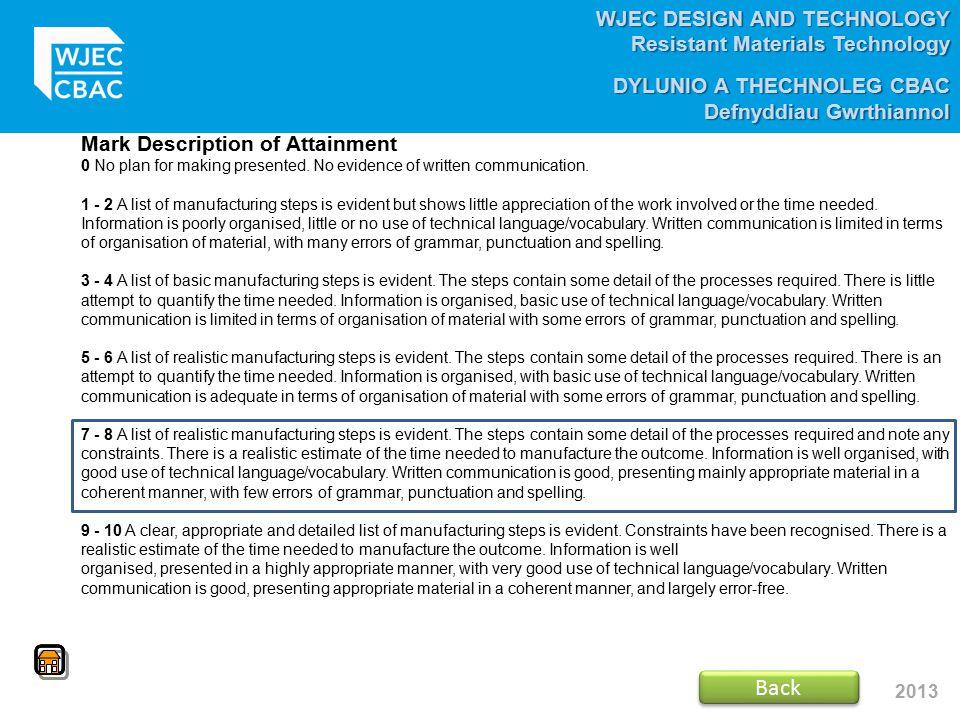 WJEC DESIGN AND TECHNOLOGY Resistant Materials Technology DYLUNIO A THECHNOLEG CBAC Defnyddiau Gwrthiannol 2013 Mark Description of Attainment 0 No pl