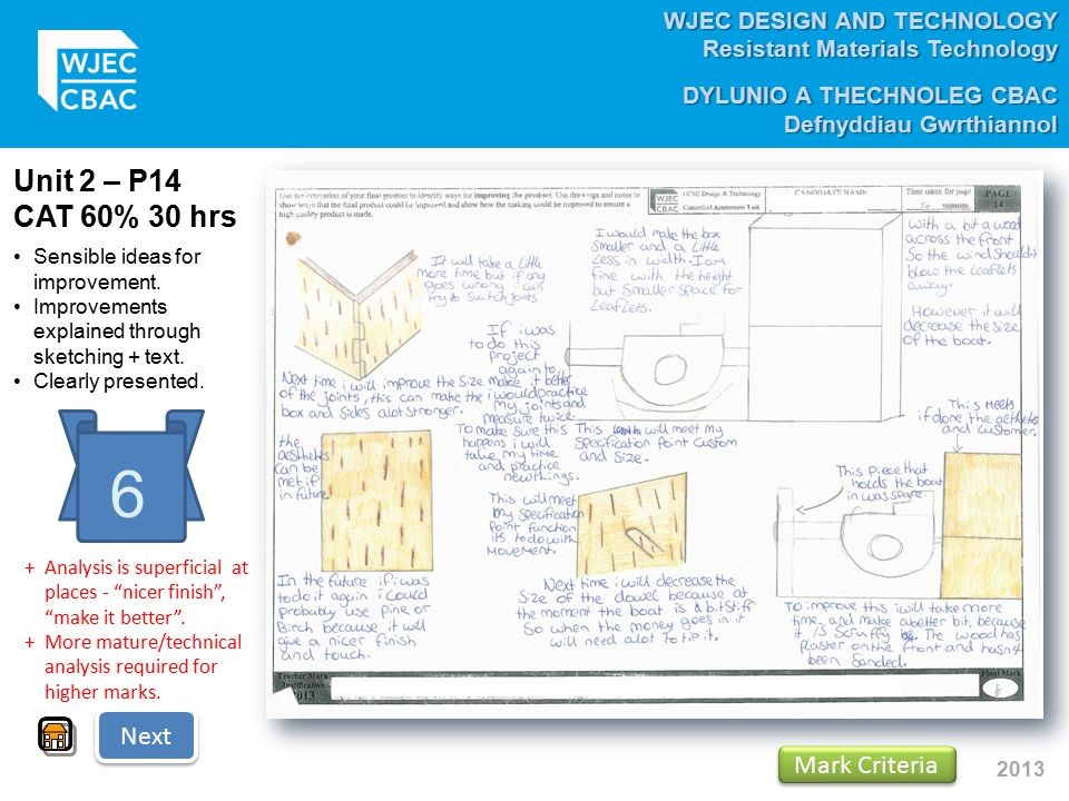 WJEC DESIGN AND TECHNOLOGY Resistant Materials Technology DYLUNIO A THECHNOLEG CBAC Defnyddiau Gwrthiannol 2013 Unit 2 – P14 CAT 60% 30 hrs 6 Sensible