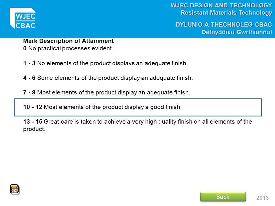 WJEC DESIGN AND TECHNOLOGY Resistant Materials Technology DYLUNIO A THECHNOLEG CBAC Defnyddiau Gwrthiannol 2013 Mark Description of Attainment 0 No pr