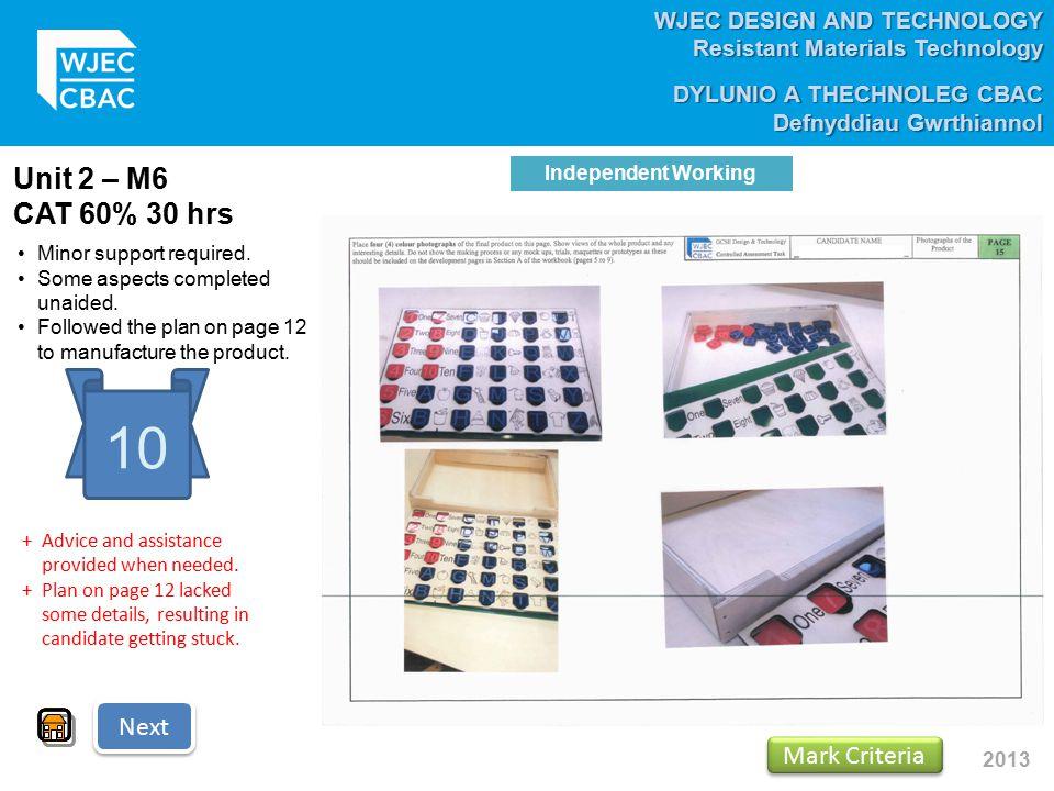 WJEC DESIGN AND TECHNOLOGY Resistant Materials Technology DYLUNIO A THECHNOLEG CBAC Defnyddiau Gwrthiannol 2013 Unit 2 – M6 CAT 60% 30 hrs 10 Minor su