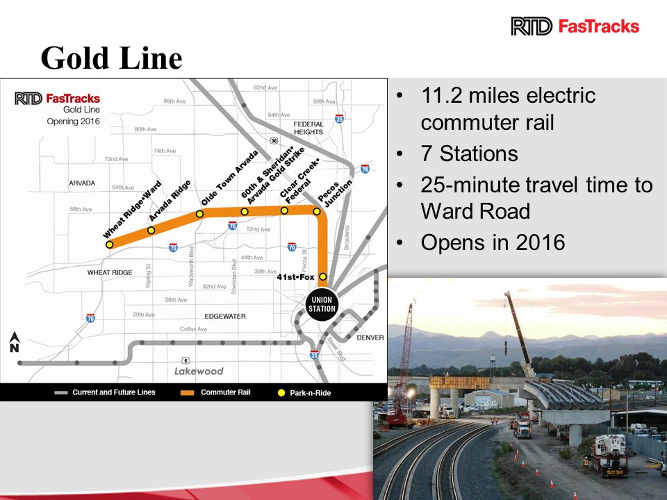 Gold Line 11.2 miles electric commuter rail 7 Stations 25-minute travel time to Ward Road Opens in 2016