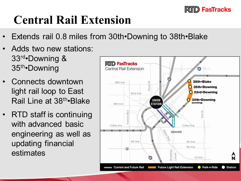 Adds two new stations: 33 rd Downing & 35 th Downing Connects downtown light rail loop to East Rail Line at 38 th Blake RTD staff is continuing with a