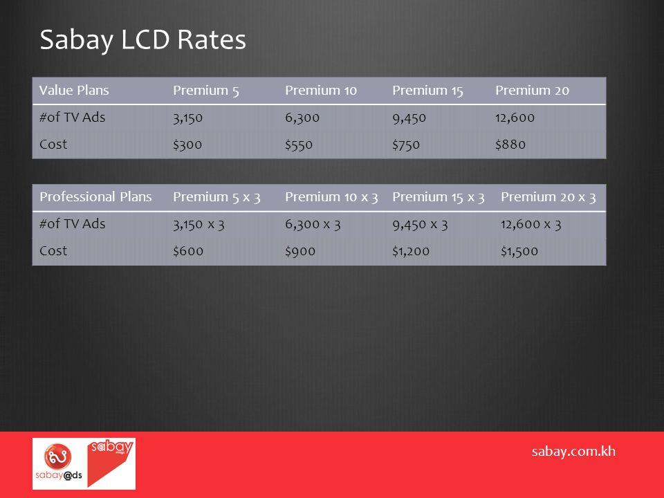 Sabay LCD Rates sabay.com.kh Value PlansPremium 5Premium 10Premium 15Premium 20 #of TV Ads3,1506,3009,45012,600 Cost$300$550$750$880 Professional Plan