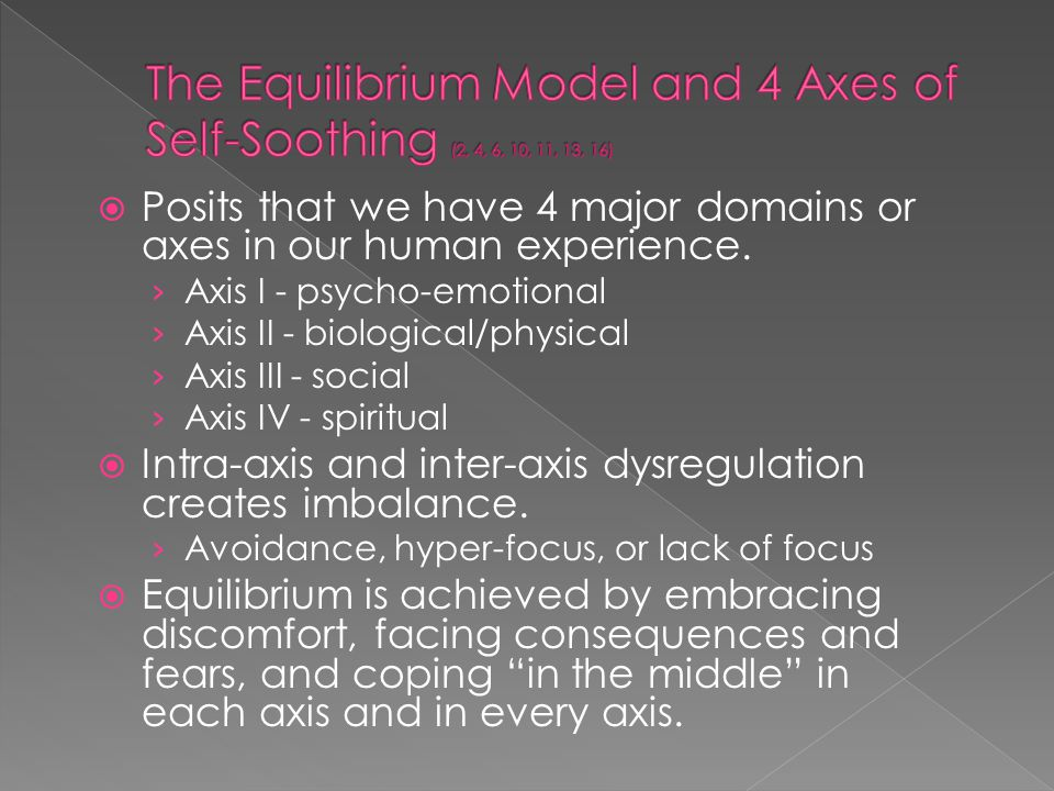  Posits that we have 4 major domains or axes in our human experience. › Axis I - psycho-emotional › Axis II - biological/physical › Axis III - social