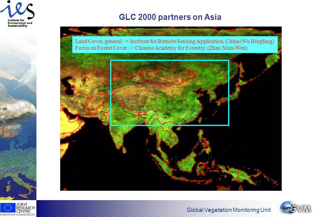 Global Vegetation Monitoring Unit Generation of cloud-free mosaic  S1-images for the of full year 2000  2 year S10 images 1998-2000 Approach I: S1-ProductsApproach II: S10 -Products  SWIR line error mask  Cloud haze threshold  Filter for angle Φ> 45º and hot spots (Φ,φ)  Water mask  Select max 15 percent of NDVI  Minimum in the red channel  SWIR line error threshold  Cloud-haze threshold  Cloud shadow-haze mask  Pixel selection by minimum in SWIR for monthly mosaics  Pixel selection by minimum in NIR from monthly mosaics