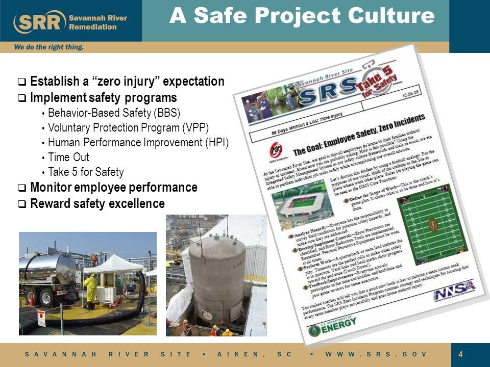 "4   Establish a ""zero injury"" expectation   Implement safety programs Behavior-Based Safety (BBS) Voluntary Protection Program (VPP) Human Perform"
