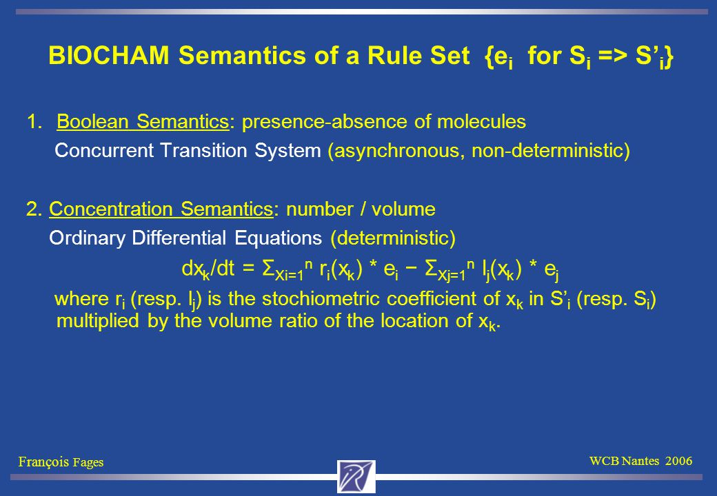François Fages WCB Nantes 2006 BIOCHAM Semantics of a Rule Set {e i for S i => S' i } 1.Boolean Semantics: presence-absence of molecules Concurrent Transition System (asynchronous, non-deterministic) 2.