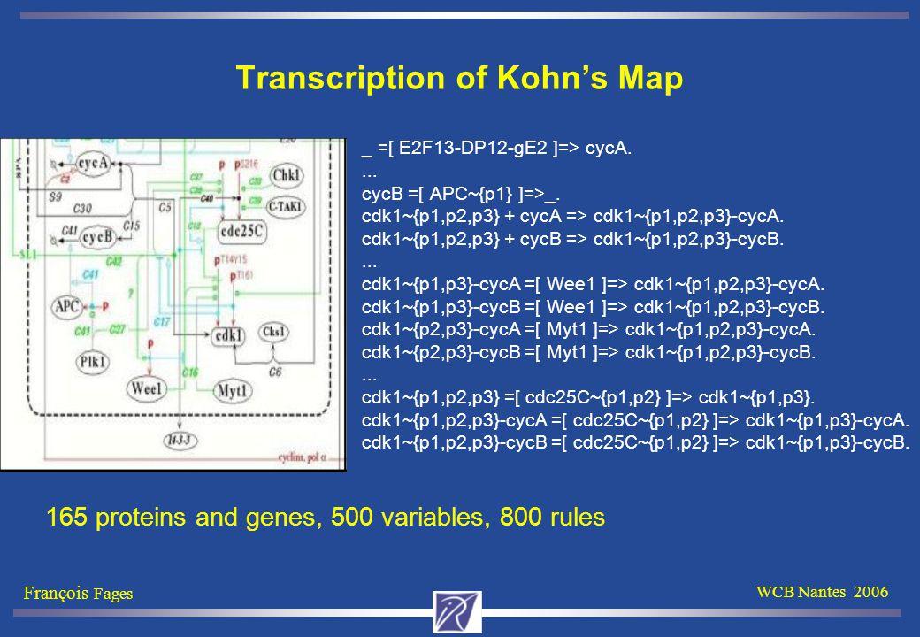 François Fages WCB Nantes 2006 Transcription of Kohn's Map _ =[ E2F13-DP12-gE2 ]=> cycA....