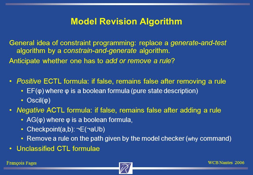 François Fages WCB Nantes 2006 Model Revision Algorithm General idea of constraint programming: replace a generate-and-test algorithm by a constrain-and-generate algorithm.