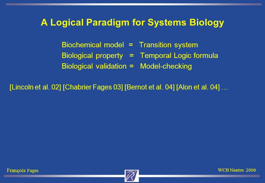 François Fages WCB Nantes 2006 A Logical Paradigm for Systems Biology Biochemical model = Transition system Biological property = Temporal Logic formula Biological validation = Model-checking [Lincoln et al.