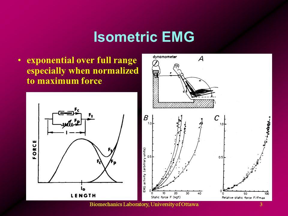 Biomechanics Laboratory, University of Ottawa3 Isometric EMG exponential over full range especially when normalized to maximum force
