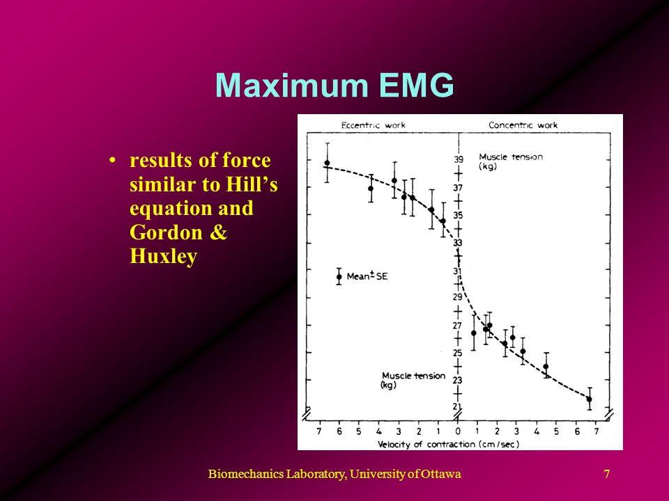 Biomechanics Laboratory, University of Ottawa7 Maximum EMG results of force similar to Hill's equation and Gordon & Huxley