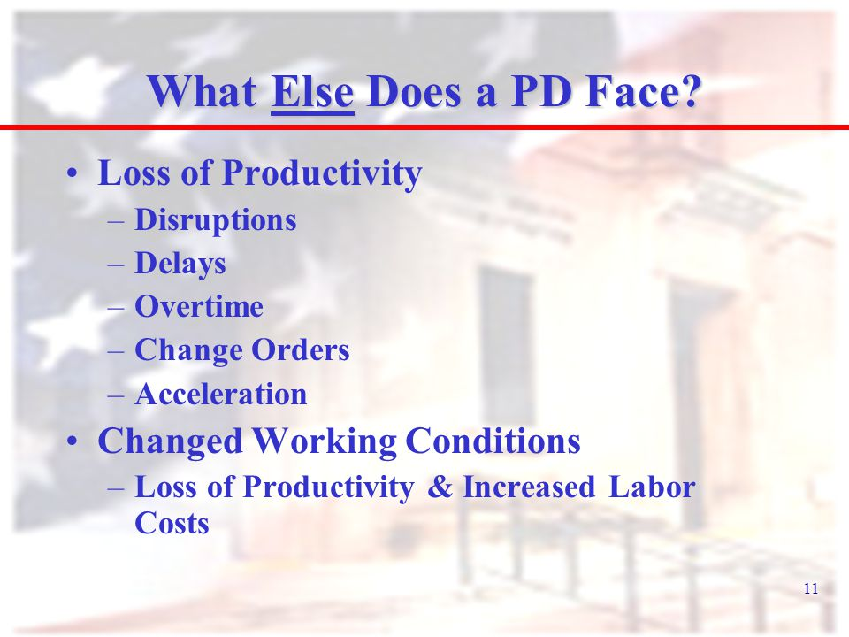 11 What Else Does a PD Face? Loss of Productivity –Disruptions –Delays –Overtime –Change Orders –Acceleration Changed Working Conditions –Loss of Prod