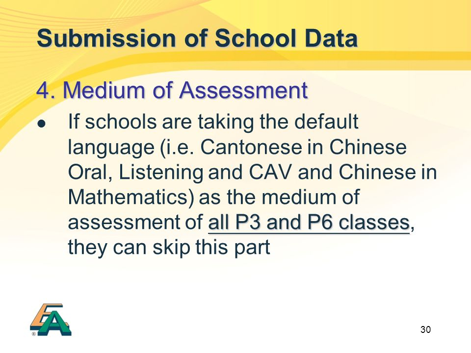30 Submission of School Data 4.