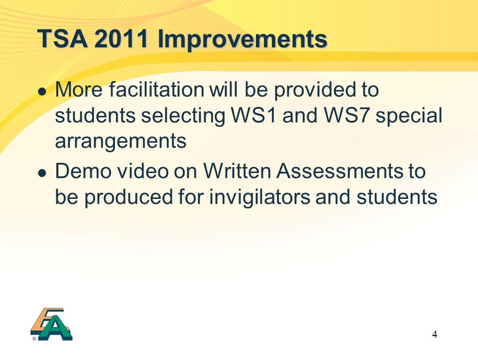 4 TSA 2011 Improvements More facilitation will be provided to students selecting WS1 and WS7 special arrangements Demo video on Written Assessments to be produced for invigilators and students