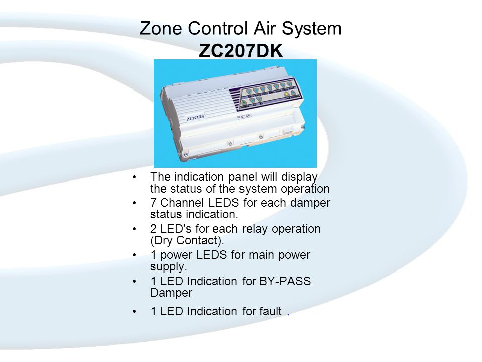 Zone Control Air System ZC207DK The indication panel will display the status of the system operation 7 Channel LEDS for each damper status indication.