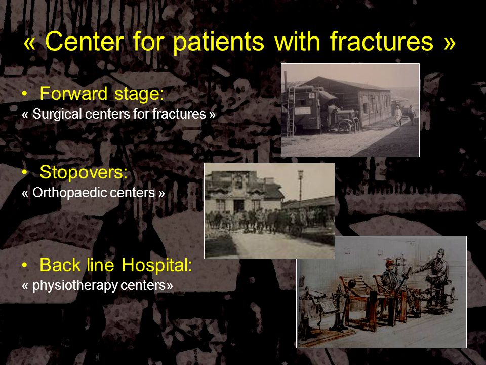 Forward stage: « Surgical centers for fractures » Stopovers: « Orthopaedic centers » Back line Hospital: « physiotherapy centers» « Center for patients with fractures »