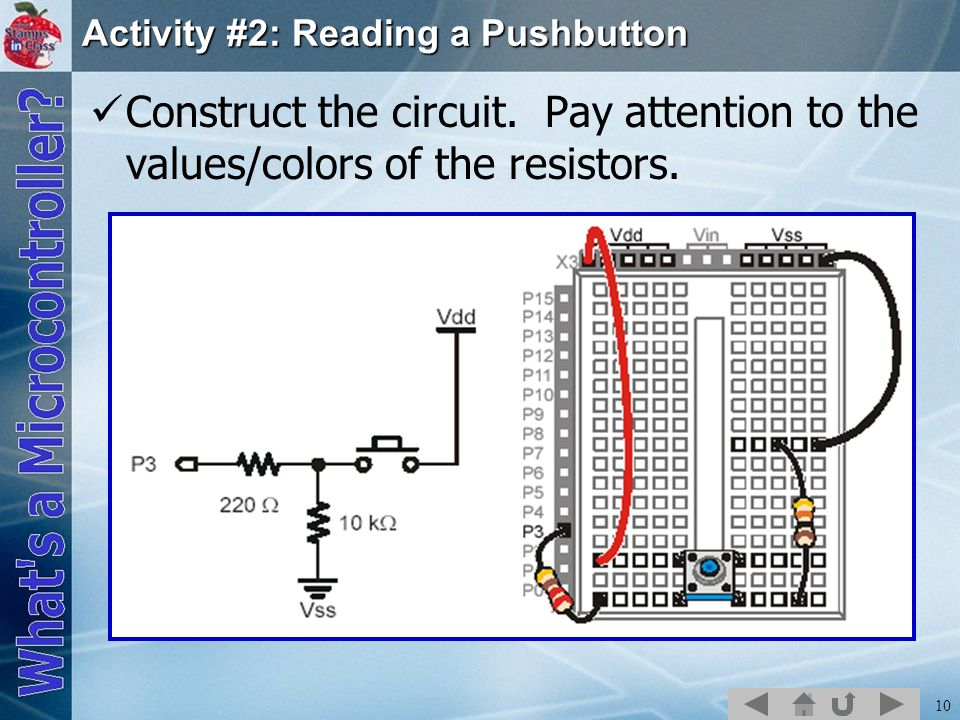 10 Activity #2: Reading a Pushbutton Construct the circuit. Pay attention to the values/colors of the resistors.