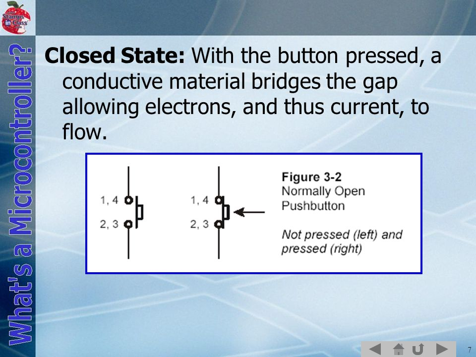 7 Closed State: With the button pressed, a conductive material bridges the gap allowing electrons, and thus current, to flow.